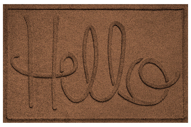 """Home Accents Aqua Shield 1'11"""" x 3' Hello Indoor/Outdoor Doormat, Brown, large"""