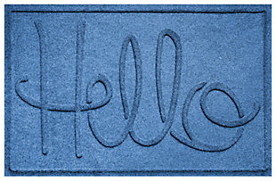 "Home Accents Aqua Shield 1'11"" x 3' Hello Indoor/Outdoor Doormat, Blue, large"