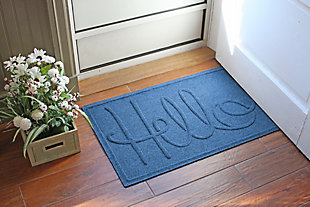 "Home Accents Aqua Shield 1'11"" x 3' Hello Indoor/Outdoor Doormat, Blue, rollover"