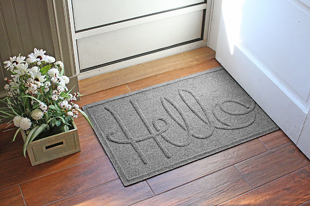 """Home Accents Aqua Shield 1'11"""" x 3' Hello Indoor/Outdoor Doormat, Gray, large"""