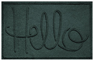 "Home Accents Aqua Shield 1'11"" x 3' Hello Indoor/Outdoor Doormat, Green, large"