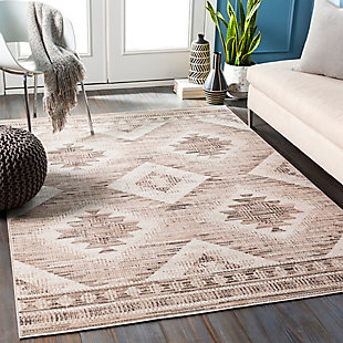 """Traditional 5'3"""" x 7'7"""" Area Rug, Camel/Black/White, rollover"""
