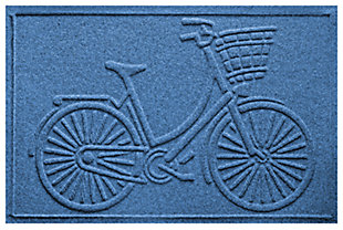 "Home Accents Aqua Shield 1'11"" x 3' Nantucket Bicycle Indoor/Outdoor Doormat, Blue, large"