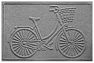"Home Accents Aqua Shield 1'11"" x 3' Nantucket Bicycle Indoor/Outdoor Doormat, Gray, large"
