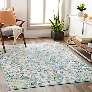 "Traditional 5'3"" x 7' Area Rug, Multi, rollover"