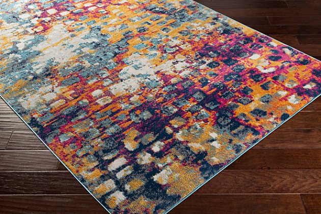 "Modern 5'3"" x 7' Area Rug, Multi, large"