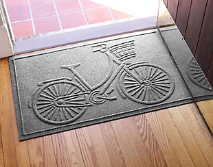 "Home Accents Aqua Shield 1'11"" x 3' Nantucket Bicycle Indoor/Outdoor Doormat, Gray, rollover"
