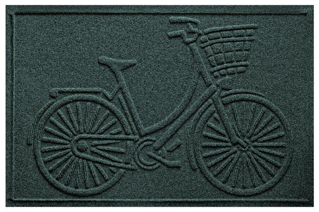"""Home Accents Aqua Shield 1'11"""" x 3' Nantucket Bicycle Indoor/Outdoor Doormat, Green, large"""