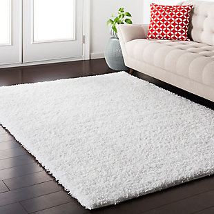 "Modern 5'3"" x 7'3"" Area Rug, White, rollover"