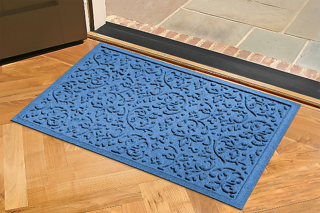 "Home Accents Aqua Shield 1'11"" x 3' Halcyon Indoor/Outdoor Doormat, Blue, large"
