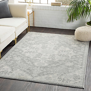 """Traditional 5'3"""" x 7'3"""" Area Rug, Light Gray/Charcoal/Beige, rollover"""