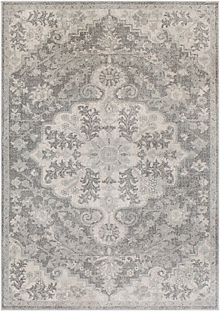 """Traditional 5'3"""" x 7'3"""" Area Rug, Light Gray/Charcoal/Beige, large"""