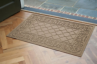 "Home Accents Aqua Shield 1'11"" x 3' Rosalie Indoor/Outdoor Doormat, Beige, rollover"