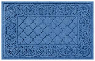 """Home Accents Aqua Shield 1'11"""" x 3' Rosalie Indoor/Outdoor Doormat, Blue, large"""