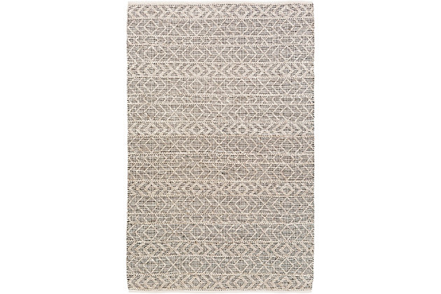 "Modern 2'6"" x 8' Area Rug, Black/Ivory/Taupe, large"