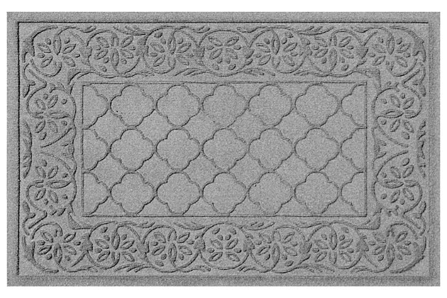 "Home Accents Aqua Shield 1'11"" x 3' Rosalie Indoor/Outdoor Doormat, Gray, large"