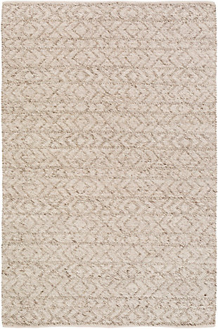 "Modern 5' x 7'6"" Area Rug, White/Ivory/Taupe, large"