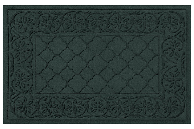 "Home Accents Aqua Shield 1'11"" x 3' Rosalie Indoor/Outdoor Doormat, Green, large"