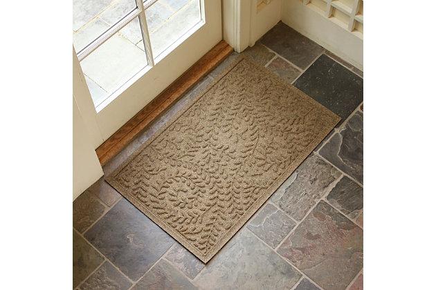 """Home Accents Aqua Shield 1'11"""" x 3' Boxwood Indoor/Outdoor Doormat, Beige, large"""