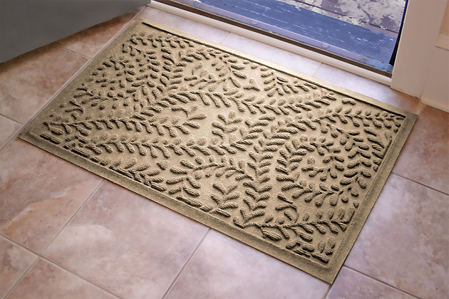 "Home Accents Aqua Shield 1'11"" x 3' Boxwood Indoor/Outdoor Doormat, Beige, large"