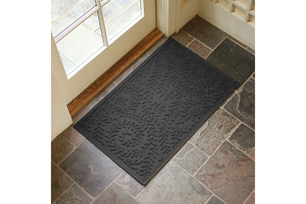 "Home Accents Aqua Shield 1'11"" x 3' Boxwood Indoor/Outdoor Doormat, Gray, large"