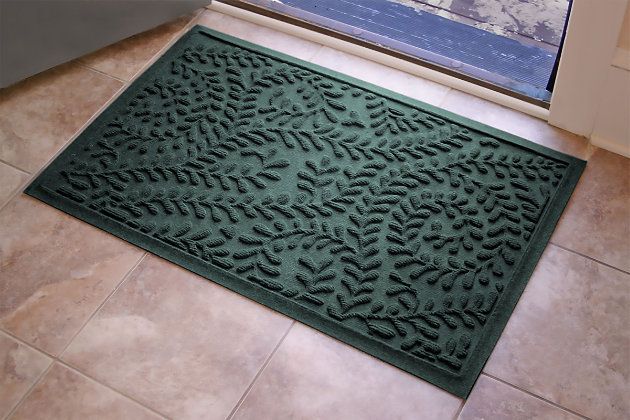 "Home Accents Aqua Shield 1'11"" x 3' Boxwood Indoor/Outdoor Doormat, Green, large"