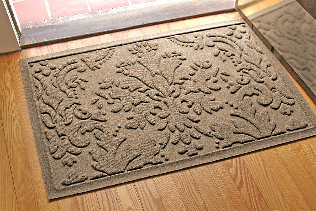 "Home Accents Aqua Shield 1'11"" x 3' Damask Indoor/Outdoor Doormat, Beige, large"