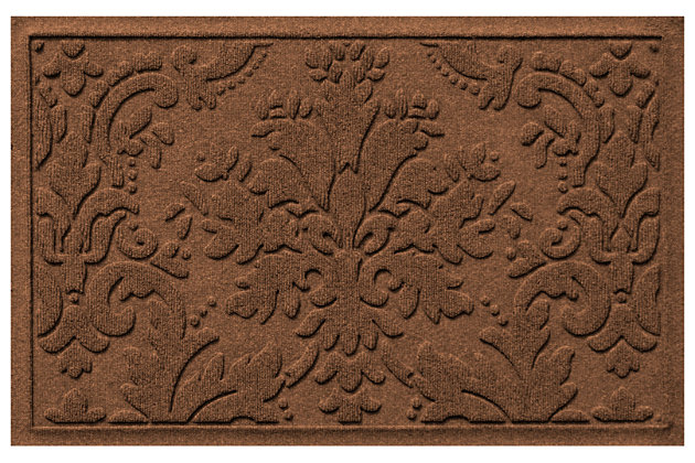 "Home Accents Aqua Shield 1'11"" x 3' Damask Indoor/Outdoor Doormat, Brown, large"