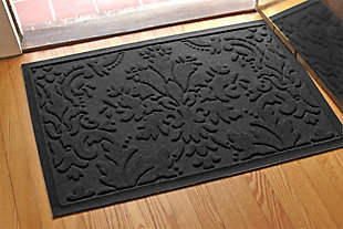 "Home Accents Aqua Shield 1'11"" x 3' Damask Indoor/Outdoor Doormat, Gray, rollover"