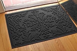 """Home Accents Aqua Shield 1'11"""" x 3' Damask Indoor/Outdoor Doormat, Gray, large"""