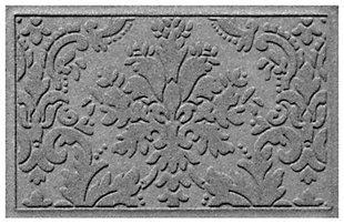 "Home Accents Aqua Shield 1'11"" x 3' Damask Indoor/Outdoor Doormat, Gray, large"