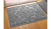 "Home Accents Aqua Shield 1'11"" x 3' Damask Indoor/Outdoor Doormat, Gray, rollover"