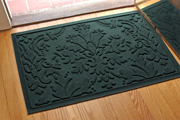 "Home Accents Aqua Shield 1'11"" x 3' Damask Indoor/Outdoor Doormat, Green, large"