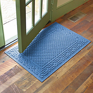 "Home Accents Aqua Shield 1'11"" x 3' Acropolis Indoor/Outdoor Doormat, Blue, large"