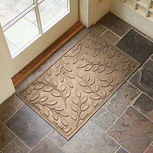 "Home Accents Aqua Shield 1'11"" x 2'11"" Brittany Leaf Indoor/Outdoor Doormat, Beige, rollover"