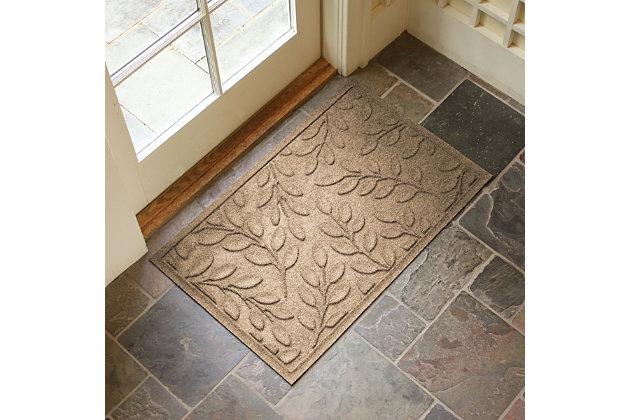 "Home Accents Aqua Shield 1'11"" x 2'11"" Brittany Leaf Indoor/Outdoor Doorm, Beige, large"