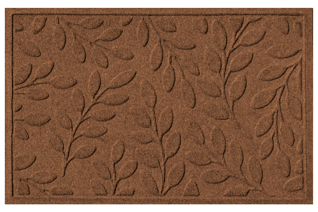 "Home Accents Aqua Shield 1'11"" x 2'11"" Brittany Leaf Indoor/Outdoor Doormat, Brown, large"