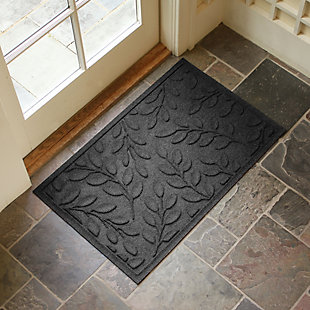 "Home Accents Aqua Shield 1'11"" x 2'11"" Brittany Leaf Indoor/Outdoor Doormat, Gray, rollover"