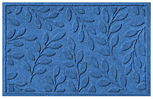 "Home Accents Aqua Shield 1'11"" x 2'11"" Brittany Leaf Indoor/Outdoor Doormat, Blue, large"