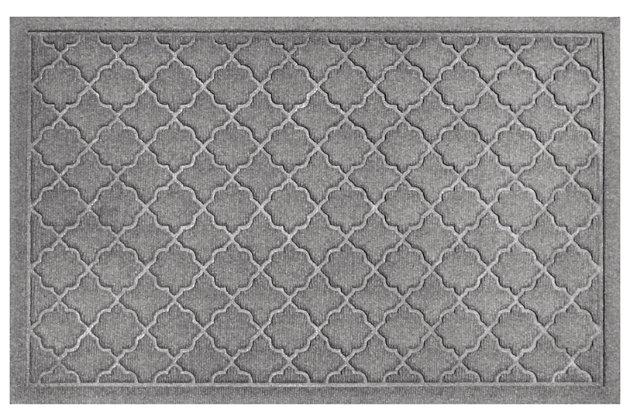 """Home Accents Aqua Shield 1'11"""" x 2'11"""" Cordova Indoor/Outdoor Doormat, Gray, large"""