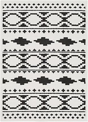 """Surya 6'7"""" X 9'6"""" Area Rug, Black/Charcoal/White, rollover"""