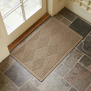 """Home Accents Aqua Shield 2' x 2'10"""" Diamonds Indoor/Outdoor Doormat, Beige, rollover"""
