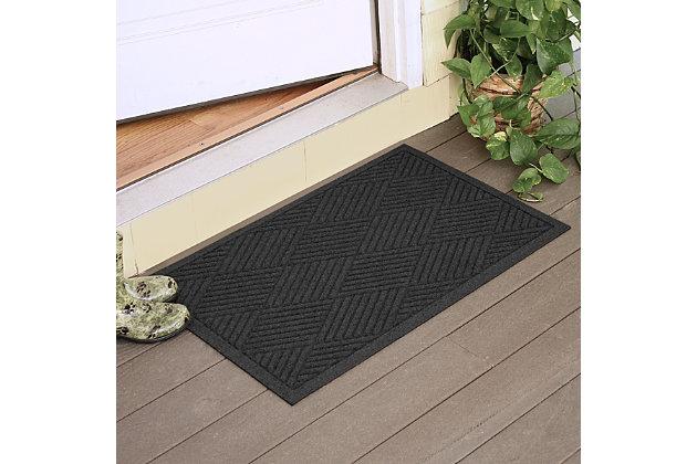 """Home Accents Aqua Shield 2' x 2'10"""" Diamonds Indoor/Outdoor Doormat, Gray, large"""