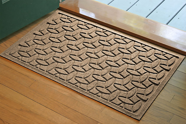 """Home Accents Aqua Shield 1'10"""" x 2'10"""" Ellipse Indoor/Outdoor Doormat, Beige, large"""