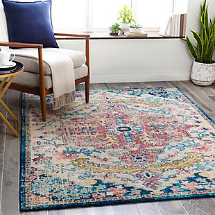 "Traditional Area Rug 7'10"" x 10' Rug, Multi, rollover"