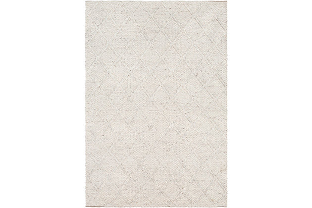 "Modern Area Rug 5' x 7'6"" Rug, White, large"