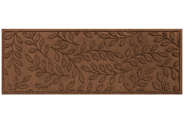 """Home Accents Aqua Shield 1'10"""" x 4'11"""" Brittany Leaf Runner, Brown, large"""