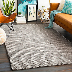 "Modern Area Rug 5' x 7'6"" Rug, Light Gray/Ivory, rollover"