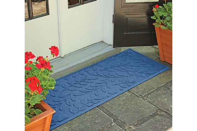 "Home Accents Aqua Shield 1'10"" x 4'11"" Brittany Leaf Runner, Blue, large"