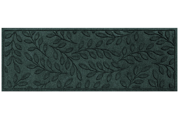 """Home Accents Aqua Shield 1'10"""" x 4'11"""" Brittany Leaf Runner, Green, large"""